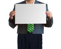 Homem de negócio com placa em branco fotografia de stock
