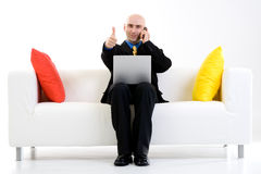 Homem de negócio com polegares acima fotografia de stock royalty free