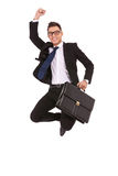 Homem de negócio com salto da pasta Fotografia de Stock Royalty Free