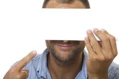 Homem de negócio com sinal Foto de Stock Royalty Free