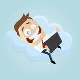 Homem de negócio com tablet pc em uma nuvem Fotos de Stock Royalty Free