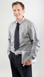 Homem de negócio com tabuleta Imagem de Stock Royalty Free