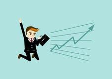 Homem de negócio com vetor do gráfico Fotos de Stock Royalty Free