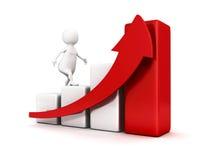 homem de negócio 3d branco que escala acima o gráfico de barra e que cresce a seta Fotografia de Stock