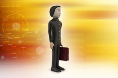 homem de negócio 3d com pasta Imagens de Stock Royalty Free
