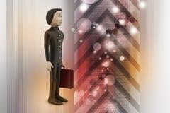 homem de negócio 3d com pasta Foto de Stock Royalty Free