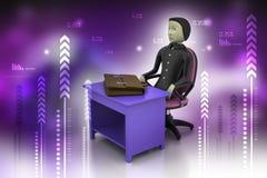 homem de negócio 3d com a pasta no escritório Fotos de Stock Royalty Free