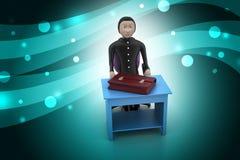 homem de negócio 3d com a pasta no escritório Imagem de Stock Royalty Free