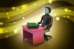 homem de negócio 3d com a pasta no escritório Fotografia de Stock