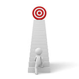 homem de negócio 3d que intensifica a seu objetivo bem sucedido sobre as escadas Fotos de Stock