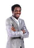 Homem de negócio do americano africano com as mãos dobradas Fotografia de Stock