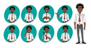 Homem de negócio do americano africano com braços dobrados ilustração do vetor