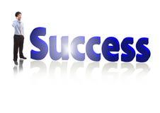Homem de negócio do sucesso que fala o telefone móvel Imagem de Stock Royalty Free