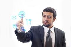 Homem de negócio do tela táctil Imagem de Stock Royalty Free
