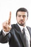 Homem de negócio do tela táctil Foto de Stock