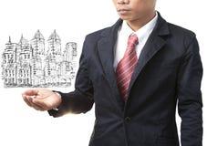 Homem de negócio e gestão da terra Foto de Stock