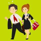 Homem de negócio e mulher de negócio que apressa-se para a ilustração do trabalho ilustração do vetor