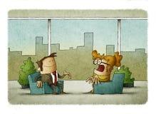 Homem de negócio e mulher de negócio que trabalha no escritório com janelas panorâmicos ilustração do vetor