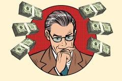 Homem de negócio e punhados do dinheiro ilustração royalty free
