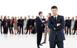 Homem de negócio e sua equipe imagens de stock