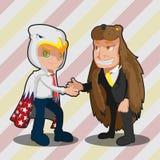 Homem de negócio Eagle Bear Shake Hand da mascote Fotos de Stock