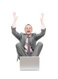 Homem de negócio ectático Foto de Stock Royalty Free
