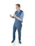 Homem de negócio em uma pose da luta Foto de Stock