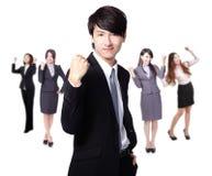 Homem de negócio excited bem sucedido Fotografia de Stock Royalty Free