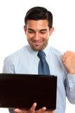 Homem de negócio feliz com computador do latpop Imagens de Stock Royalty Free