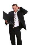 Homem de negócio feliz com parte superior do regaço Foto de Stock Royalty Free