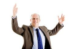 Homem de negócio feliz e bem sucedido Foto de Stock Royalty Free