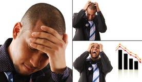 Homem de negócio frustrante com suas mãos em sua cabeça imagens de stock royalty free