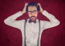 Homem de negócio frustrante contra os gráficos marrons do fundo e da seta Imagem de Stock Royalty Free