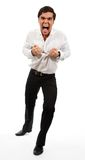 Homem de negócio frustrante que rasga distante sua camisa Fotos de Stock Royalty Free