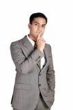 Homem de negócio indiano no pose de pensamento imagens de stock royalty free