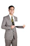 Homem de negócio indiano que prende um cartão conhecido. fotografia de stock royalty free