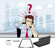 Homem de negócio infeliz que fala no telefone com um q Foto de Stock