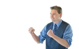 Homem de negócio na pose de combate Imagens de Stock Royalty Free