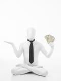 Homem de negócio na posição de lótus com dólares Foto de Stock