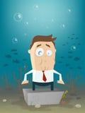 Homem de negócio no bloco de cimento subaquático Fotografia de Stock