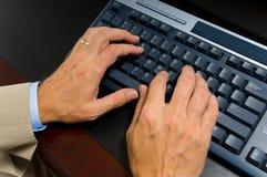 Homem de negócio no computador fotografia de stock royalty free