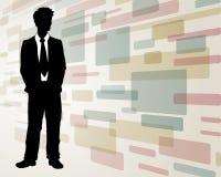 Homem de negócio no fundo abstrato foto de stock