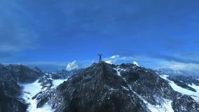 Homem de negócio no pico de montanha 3D-Rendering Fotografia de Stock