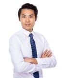 Homem de negócio novo asiático isolado no fundo branco Foto de Stock Royalty Free