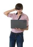 Homem de negócio novo com caderno Fotos de Stock Royalty Free
