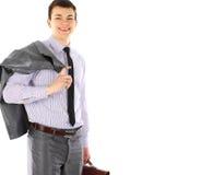 Homem de negócio novo com retrato da pasta foto de stock royalty free