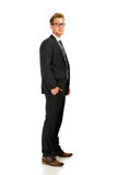 Homem de negócio novo, considerável que veste o terno preto Fotos de Stock