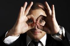 Homem de negócio novo no preto Imagens de Stock Royalty Free