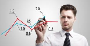Homem de negócio novo que desenha um gráfico em um vento de vidro Fotografia de Stock
