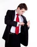 Homem de negócio novo que toma seu caderno fotos de stock royalty free